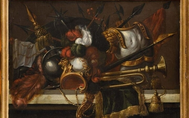 Attributed to Madeleine BOULLOGNE (1646 - 1710) Trophies for weapons and military instruments Pair of paintings Height: 76 cm Width: 102 cm Old restorations and accidents