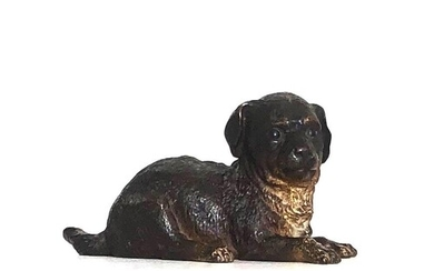 BERGMAN, A LARGE COLD PAINTED BRONZE STATUE OF A PUPPY. (17c...