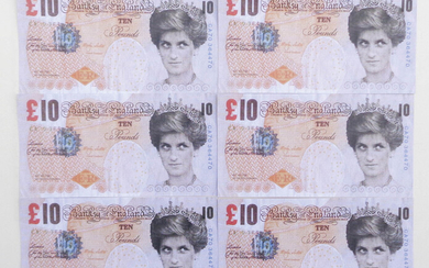 Banksy Di Faced Tenner 10 Pounds;6 banconote Banksy of England Offset, 14,5 x...