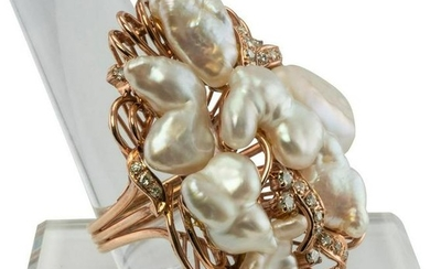 Baroque cultured Pearls Diamonds Cocktail Ring 14K Rose