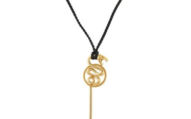 Boucheron Gold Serpent Pendant Cord Necklace, France