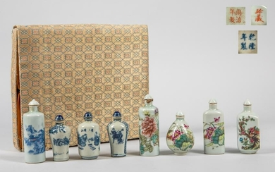 Box of Chinese Decorated Porcelain Snuff Bottles