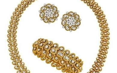 Bulgari Diamond, Gold 1960s Jewelry Suite by Bulgari