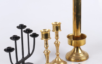 CANDLES & OIL LAMP, 5 pcs. brass and iron forging, 20th century.