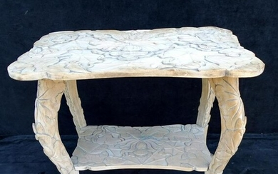 "CARVED 2 TIER LOTUS MOTIF TABLE 26""H 28.5""L 18.5""D"