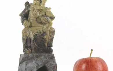 CHINESE ANTIQUE HAND CARVED SOAP STONE IMMORTAL