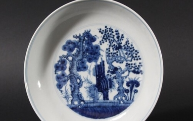 CHINESE BLUE AND WHITE DISH, blue painted with the Three Fri...