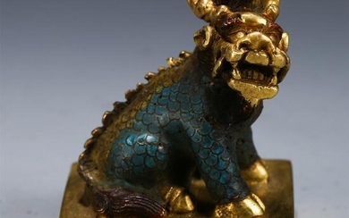CHINESE CLOISONNE GILT BRONZE BEAST SEAL
