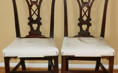 CHIPPENDALE STYLE MAHOGANY DINING CHAIRS, 7 PCS