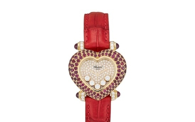 CHOPARD | HAPPY DIAMONDS, REFERENCE 30-6602-407 A YELLOW GOLD, DIAMOND AND RUBY-SET WRISTWATCH, CIRCA 2000