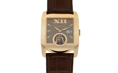 CHOPARD | REF 2283 L.U.C. MONOTEC, A LIMITED EDITION PINK GOLD SQUARE FORM WRISTWATCH WITH DATE AND DEPICTION OF KING SAUD