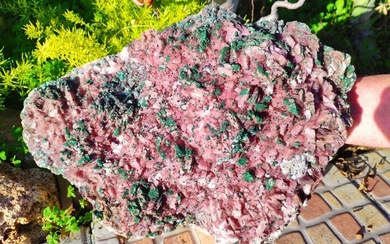 COBALTOAN-DOLOMITEwith MALACHITE rhombohedral crystals - 34×23×10 cm - 6.3 kg - (1)