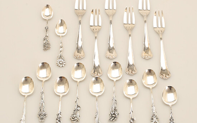 COFFEE SPOONS, 11 pieces. DESSERT FORKS, 6 pieces, Mema. Silver.