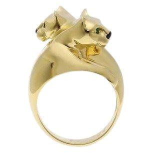 Cartier 18K Yellow Gold Double Panthere Ring Sz 51