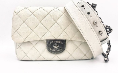 Chanel - White Quilted Leather Flap Crossbody bag