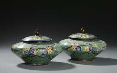 Chinese Cloisonne Enamel Bronze Jars and Covers