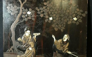 Chinese Composite Carving on Painted Wood Panel