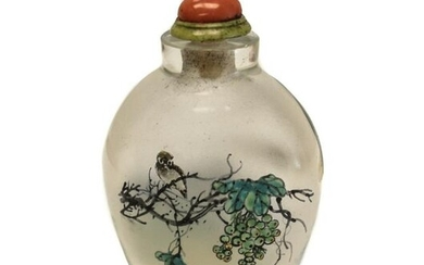 Chinese Glass Snuff Bottle, Hand Painted Birds