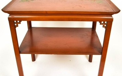Chinese Hand Painted Two Tier End Table