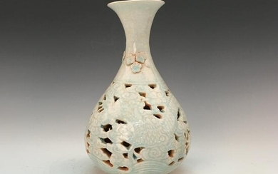 Chinese Hutian Kiln Bottle Vase Openwork