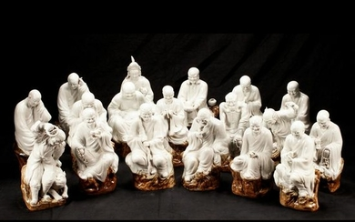 Chinese Porcelain Figural Group of the Eighteen Lohans.