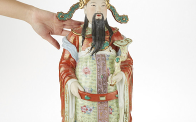 Chinese Republic Period Porcelain Figure w/ Ruyi Scepter