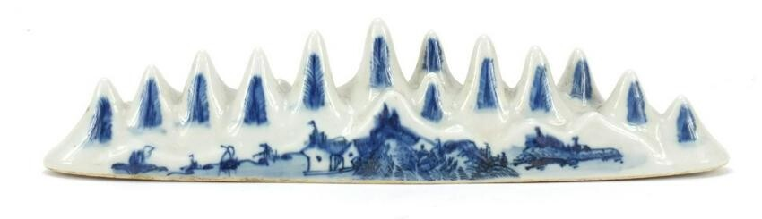 Chinese blue and white porcelain scholars brush rest