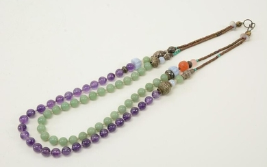 Chinese late Qing dynasty court necklace. Jade Pete.