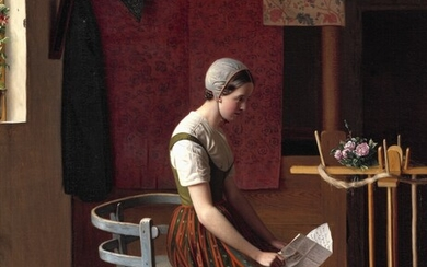 Christen Dalsgaard: Young girl contemplating a letter. Signed and dated Chr. Dalsgaard Sorø 1871. Oil on canvas. 54×44 cm.