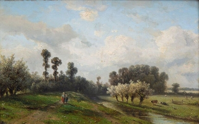 Claas Hendrik Meiners (1819-1894), Landscape with two girls...