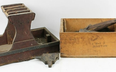 Cobbler or Farrier's Tray and Box of Iron Pcs.