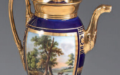 Coffee pot and its lid made of Paris porcelain from the first half of the 19th century. With polychrome decoration on each side of a lake landscape with figures and animals in rectangular gold cartouches standing out on a blue background with a large...