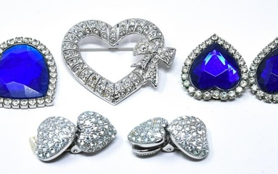 Collection Heart Shape Rhinestone Costume Jewelry