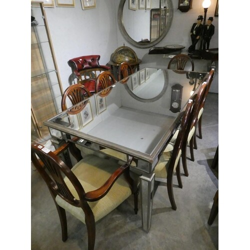 Contemporary mirrored dining table (82H 180W 90D cm)
