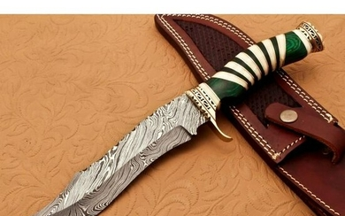 Damascus steel knife, camel bone and brass spacer