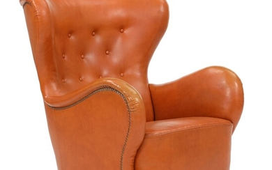 Danish cabinetmaker: Easy chair with maple legs. Seat, sides and button fitted back upholstered with...