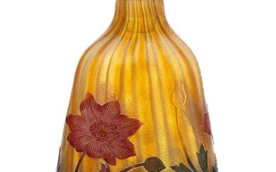 Daum, a cameo glass bottle with flower form stopper c.1902,...