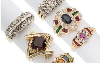 Diamond, Multi-Stone, Gold Rings The lot includes a ring...