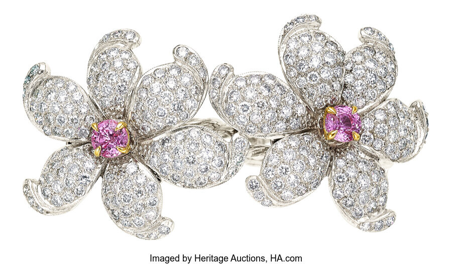 Diamond, Pink Sapphire, Gold Ring The double flower ring...