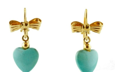 Earrings 18k Yellow Gold with Turquoise paste hearts