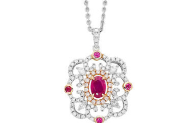 East-African Unheated Ruby, Coloured Diamond and Diamond Pendant Necklace with GRS