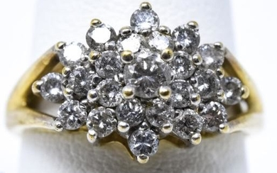 Estate 10kt Yellow Gold & Diamond Cluster Ring