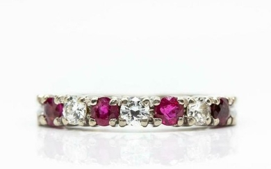 Estate 18k White Gold Diamonds and Rubies Ring