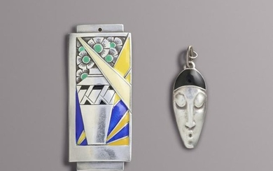 Etienne David, Two Art Deco enameled silver pendants