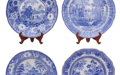 FOUR ENGLISH BLUE AND WHITE TRANSFER PLATES