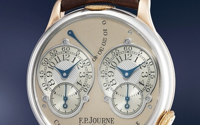 F.P. Journe, A very rare limited edition platinum and pink gold dual time wristwatch with double escapement, box and original technical drawings