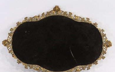 Fancy French Cast Brass Dresser Tray Black Velvet Ctr.