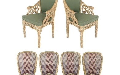 Faux Bois Blonde Carved Wood Dining Chairs with