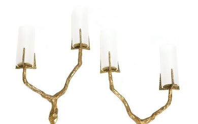 Felix Agostini Pair Two Arm Wall Sconces in Patinated