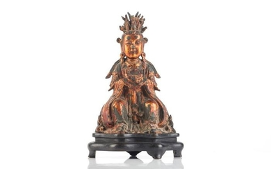Figure - Gilt bronze - A Large Gilt Bronze Figure of Xiwangmu, The Royal Ontario Museum till 1969 - China - Ming Dynasty (1368-1644)